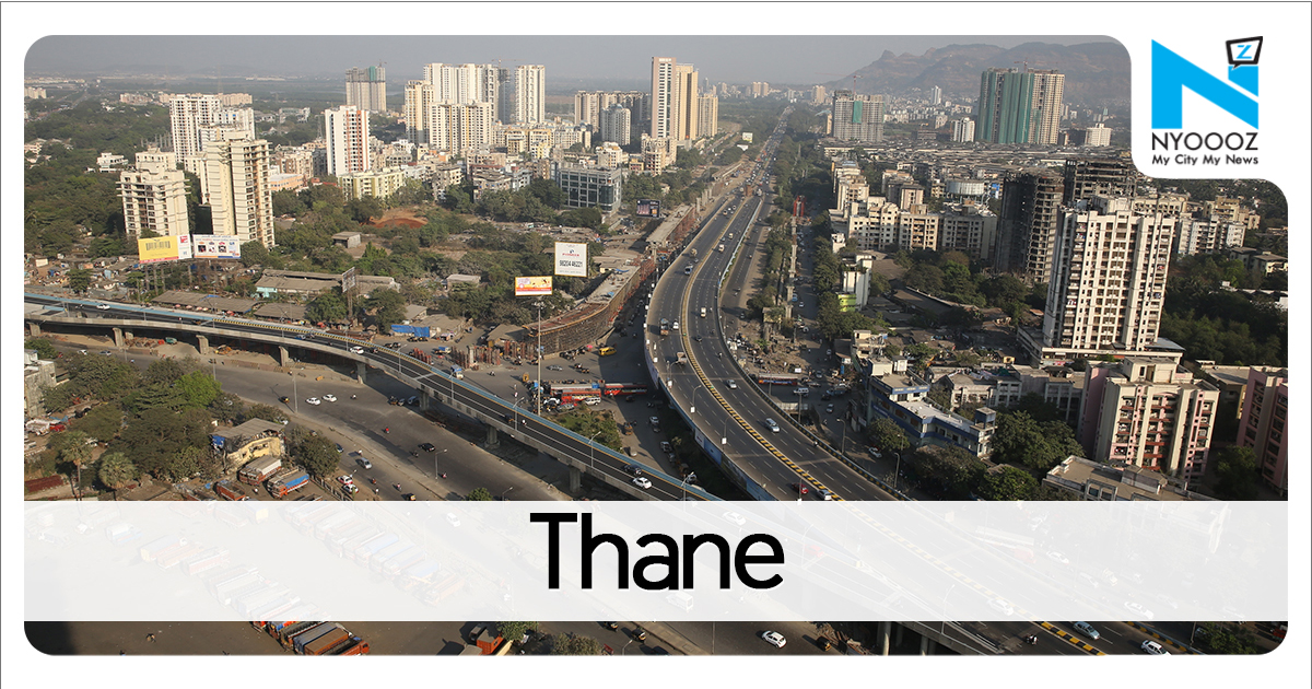 Mumbai Rains Part of road caves in due to heavy downpour in Thane