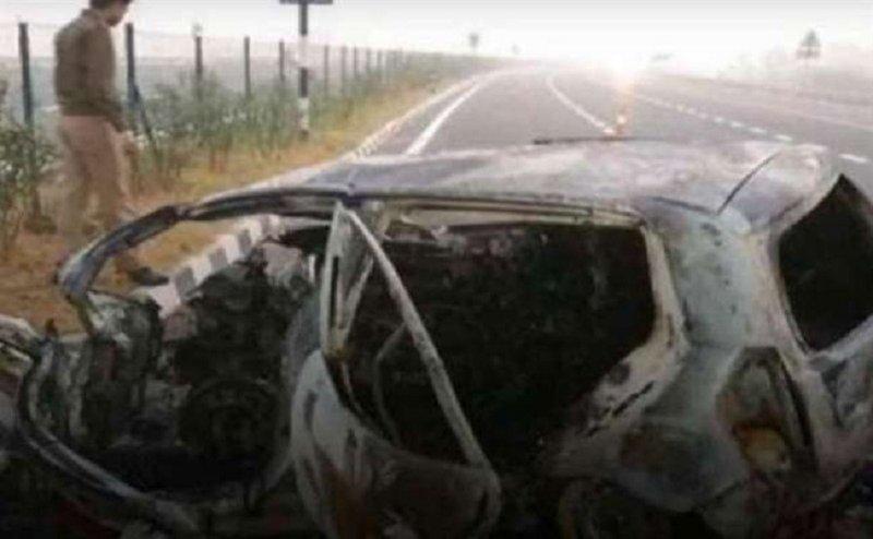 आगरा-लखनऊ एक्सप्रेस-वे पर सड़क हादसा, आर्मी लेफ्टीनेंट की की जलकर मौत