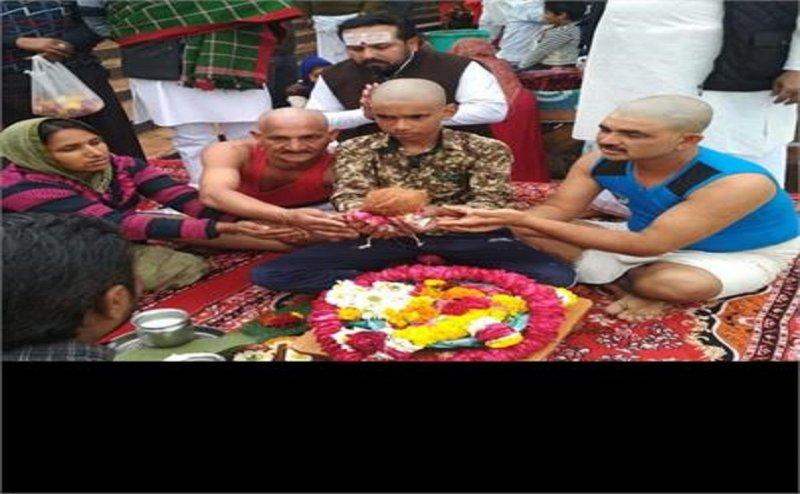 पुलवामा में राजस्थान के शहीद हेमराज मीणा की अस्थियां गंगा में विसर्जित