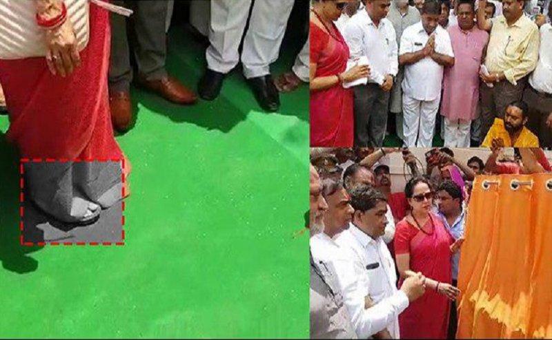 मथुरा: सांसद हेमा मालिनी ने पूजा में पहनी चप्पल, फिर किया शौचालय का उद्घाटन