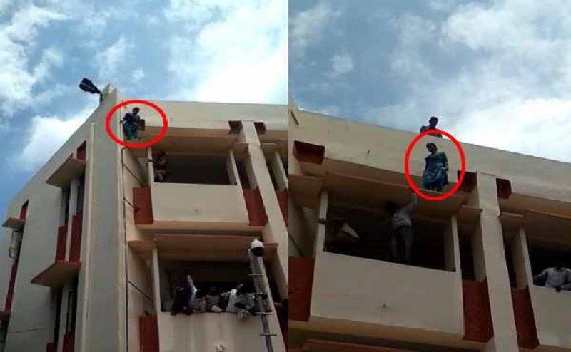 मुजफ्फनगर कोर्ट की बिल्डिंग पर चढ़ी महिला, बच्चा वापसी की कर रही मांग