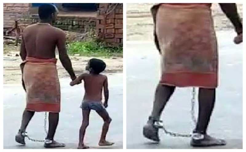 लाचार पिता ने जवान बेटे के पैरों में डाली लोहे की जंजीरे, वीडियो वायरल