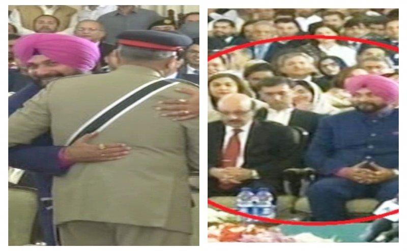 इमरान खान शपथग्रहण: पाक आर्मी चीफ से गले मिले सिद्धू, PoK के राष्ट्रपति के साथ बैठे