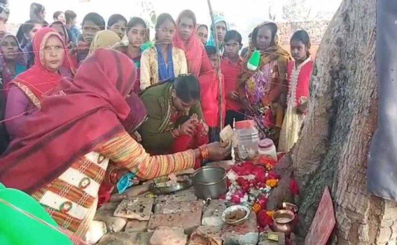 बरेली में पेड़ की जड़ से मूर्ति निकलने का दावा, लोग कर रहे हैं पूजा