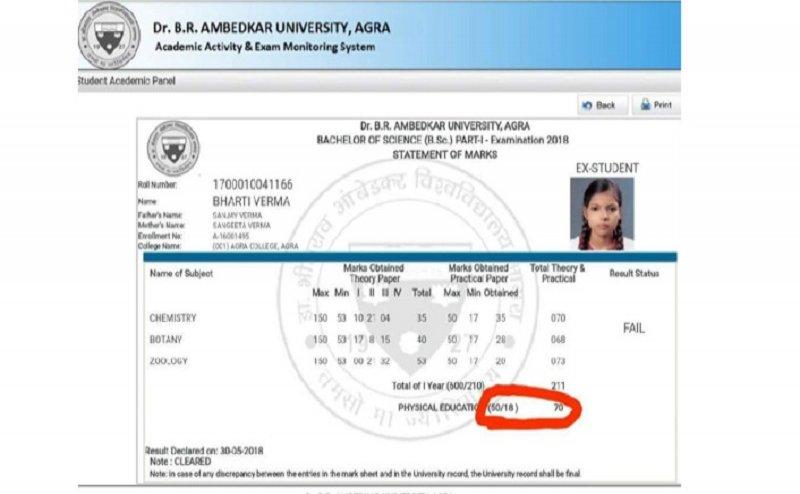 आगरा यूनिवर्सिटी का नया कारनामा, छात्रों को दिए 50 में 67, 68 और 70 नंबर