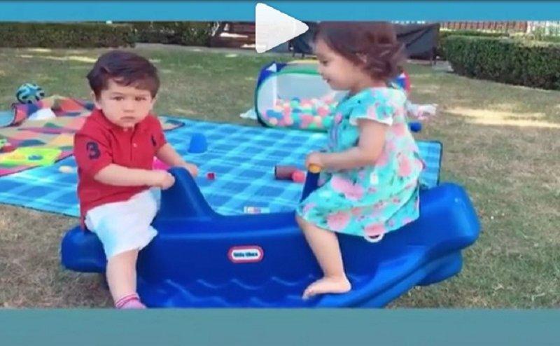 रणविजय की बेटी के साथ ऐसे मस्ती कर रहे है तैमूर, वीडियो