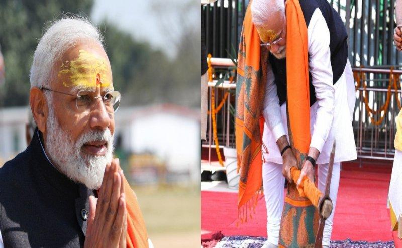 PM मोदी ने फावड़ा चलाकर विश्वनाथ कॉरिडोर की रखी आधारशिला (तस्वीर वायरल)