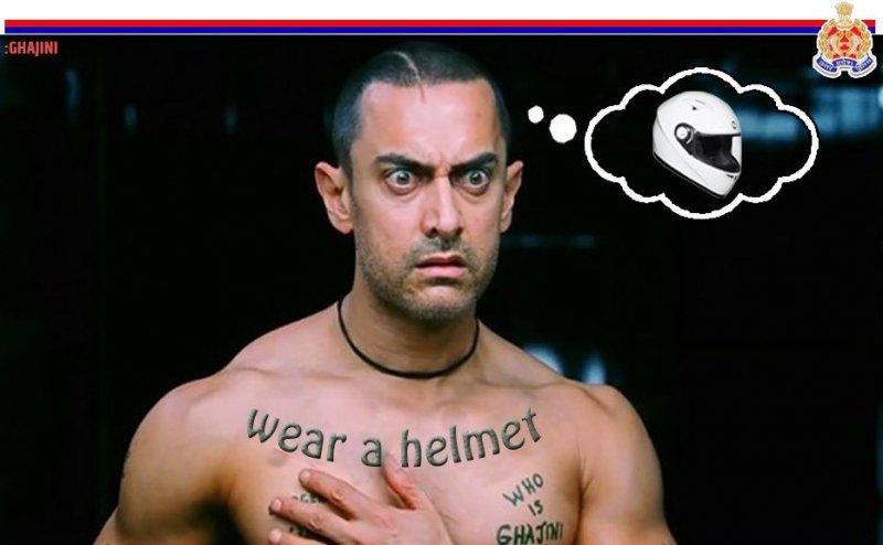 'गजनी' की मदद से बाइक चालकों को हेलमेट पहनने की सीख दे रही है UP पुलिस