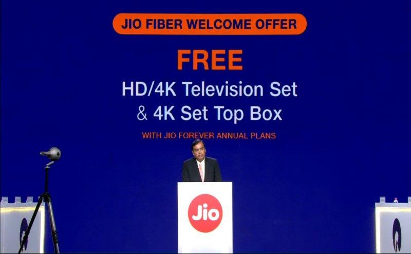 मुकेश अंबानी का ऐलान, Jio Gigafiber के सालाना प्लान पर मिलेगा फ्री HD TV