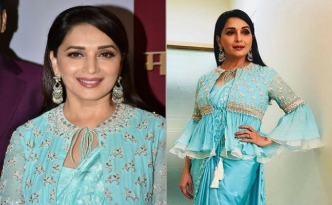 Madhuri Dixit's blue saree with koti is setting new fashion goals