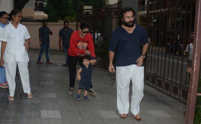 Taimur spotted with Saif-Kareena at aunt Soha Ali Khan's house