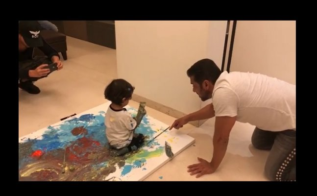 Salman Khan's fun painting video with nephew Ahil