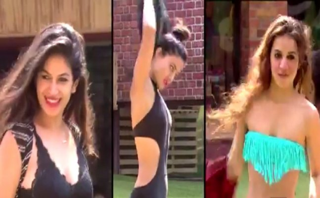 BB 11: Benafsha, Hina, Bandgi flaunt sexy BIKINI inside pool