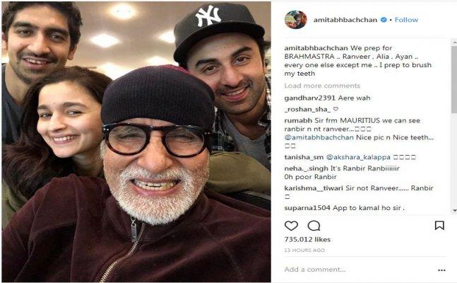Amitabh Bachchan shares 'Brahmastra' selfie; misspells Ranbir as Ranveer