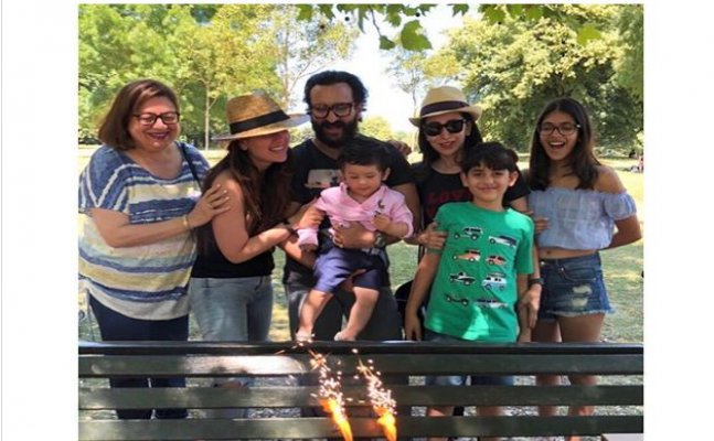 Taimur, Kareena and Sonam Kapoor celebrate Karisma Kapoor's birthday