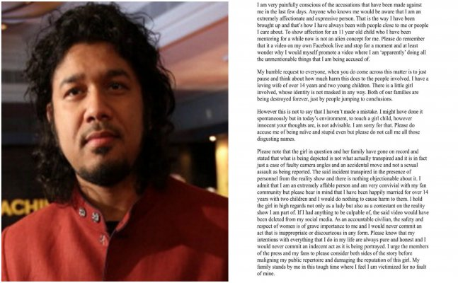 Papon issues statement after being accused of kissing a minor