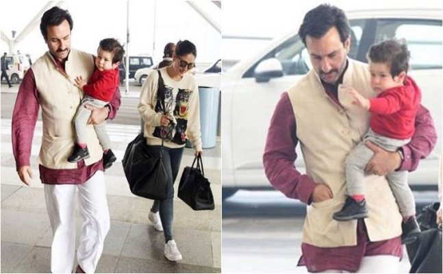 Taimur spotted at Delhi airport leaving for Mumbai with Saifeena