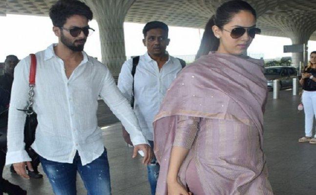 Mira Rajput flaunts her baby bump at Mumbai airport