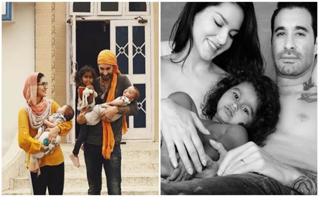 Sunny Leone and Daniel pose TOPLESS with their children