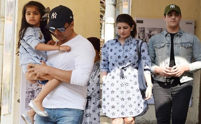 Akshay and Twinkle snapped at movie date with kids