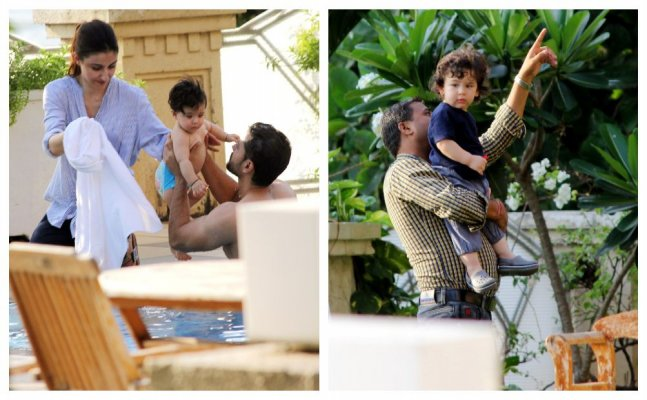 Taimur and Inaaya enjoy summer besides pool