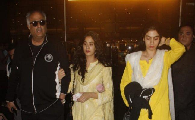 Janhvi Kapoor returns from Tirupati with Khushi and Boney Kapoor
