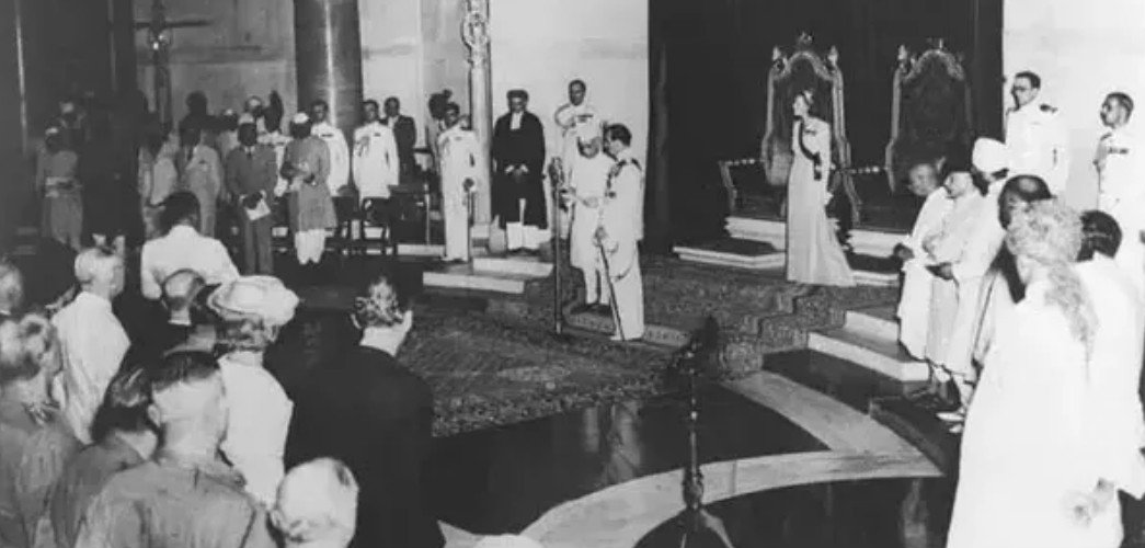 Pt. Jawaharlal Nehru, as he delivered his famous speech on the midnight of August