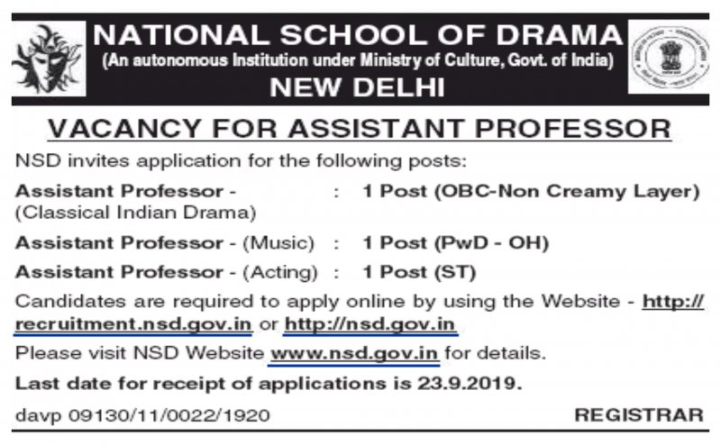National School of Drama job vacancies 2019, all details here