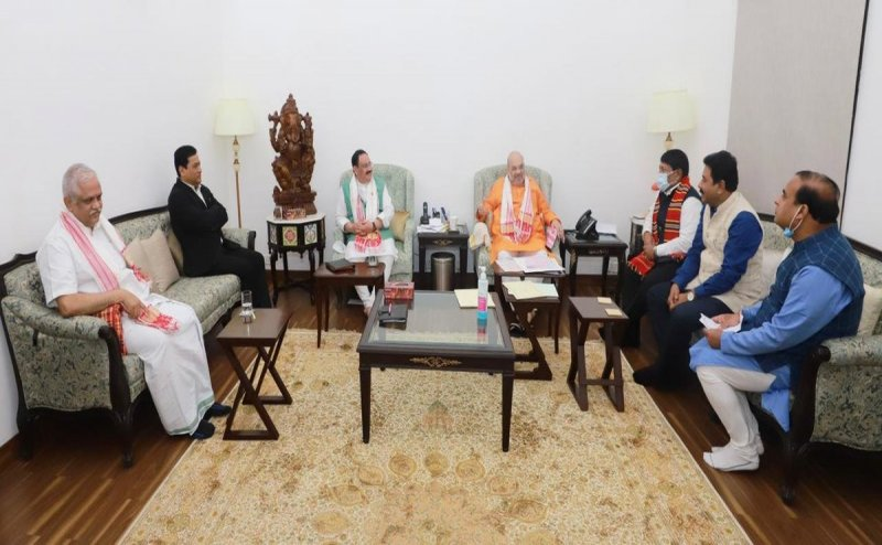 JP Nadda, Amit Shah meet Sonowal and Sarma in Delhi, wait for Assam CM continues