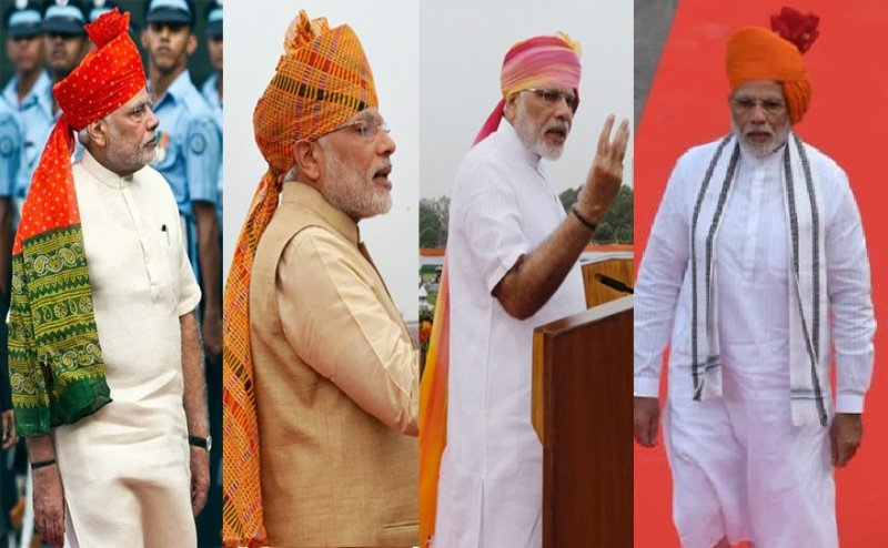 Independence day: Modi sports saffron turban, shows `Strength