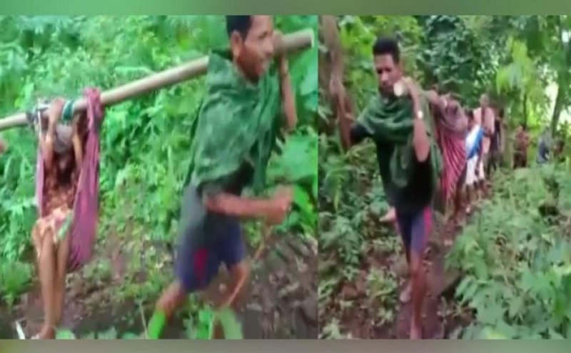 Locals carry pregnant lady on Makeshift 'doli' to hospital due to improper roads