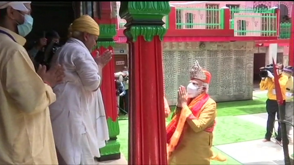 PM Modi gifted silver crown, headgear at Ayodhya's Hanuman Garhi temple