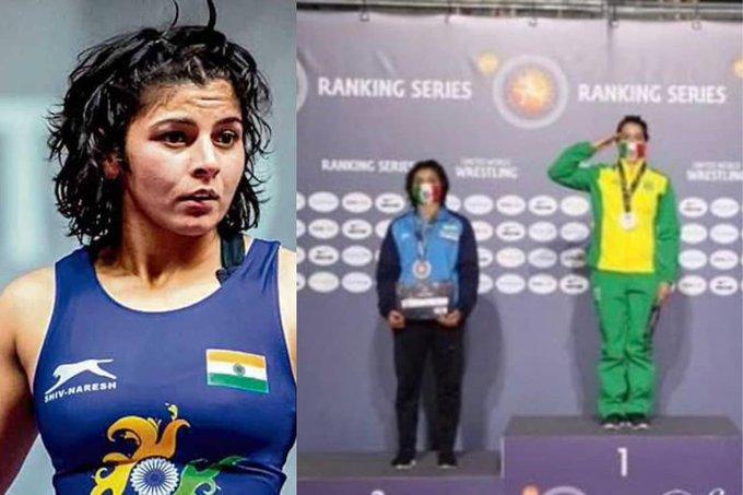 Indian wrestlers Sarita and Kuldeep bring home medals