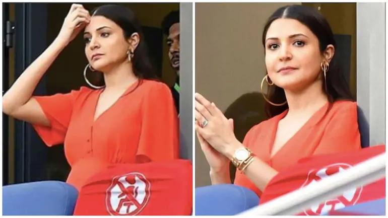 IPL2020: Anushka Sharma in red as she cheers for Virat Kohli's Royal Challengers Bangalore during IPL2020, photos flood internet