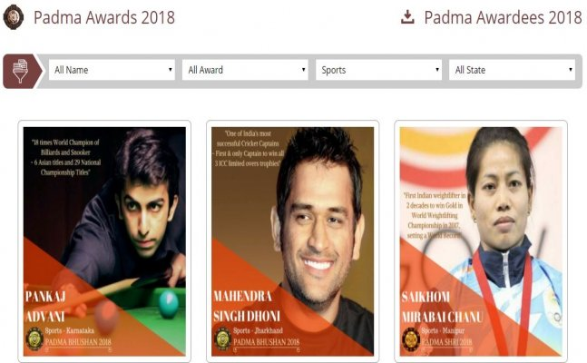 Padma Awards Website Post Wrong photo for Mirabai Chanu