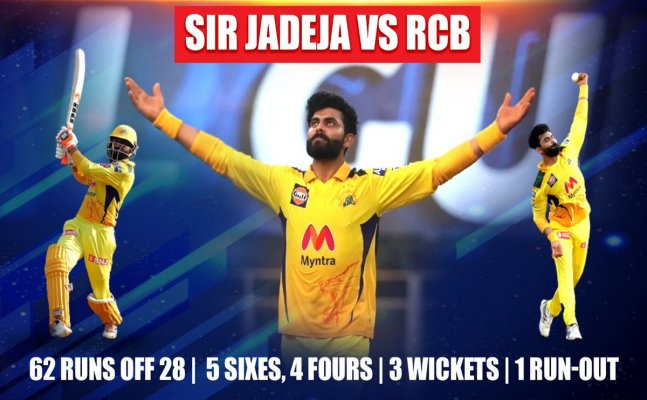 Watch: Ravindra Jadeja smashes record 37-run in one over, hits 5 massive sixes to Harshal Patel