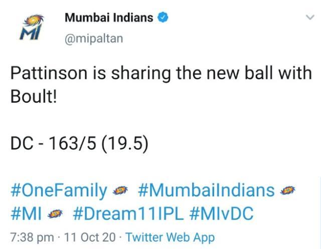 IPL 2020: MI's Twitter handle mistakenly tweets DC's final score in the first over; Netizens suspect match-fixing